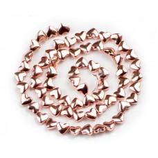 Бусины-сердечки Rose Gold, 5х6 мм, 5 штук
