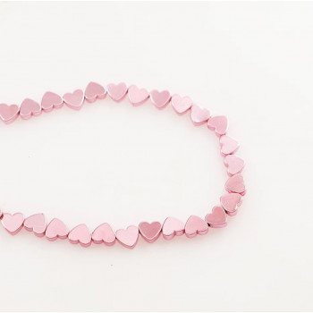 Бусины Сердечки (розовые) 5х6 мм, 5 штук