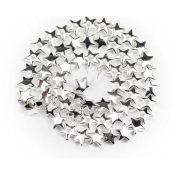 Бусины-звездочки серебряные (пластик), 5 шт