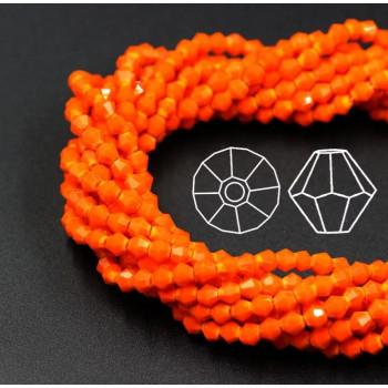 Биконусы 4 мм Оранжевые, непрозрачные, 1 нить