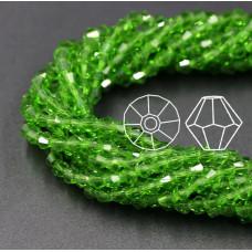 Биконусы 4 мм Зеленые, прозрачные, 1 нить