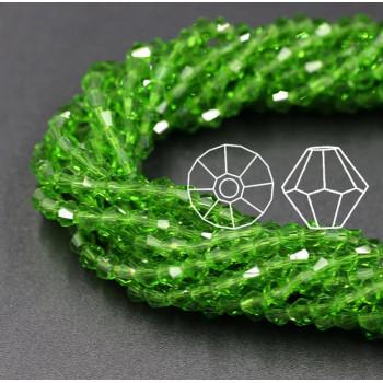 Биконусы 4 мм Зеленые, непрозрачные, 1 нить