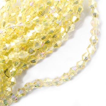 Биконусы 4 мм Желтые прозрачные, 1 нить