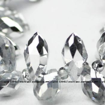 Бусины Briolette Silver/Crystal 6х12 мм, 20 штук
