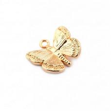 Подвеска Бабочка, покрытие золото 24К, 11х10 мм